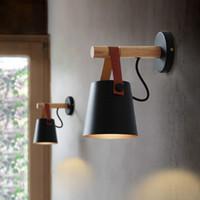 luces modernas de madera al por mayor-Lámpara de pared LED nórdica Lámpara colgante de madera Lámpara de noche moderna para sala de estar Restaurante