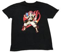 аниме рубашки сказочный хвост оптовых-Fairy Tail Gee Funimation Аниме Нацу Happy Guild Черная Футболка с рисунком Размер Мужчины Женщины Унисекс Мода футболка Бесплатная Доставка Смешно Прохладный Топ