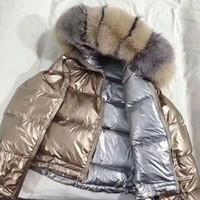 abrigo de chaqueta de piel de zorro al por mayor-Capa de la manera real de piel natural de piel de zorro cuello de la chaqueta 19FW mujeres sueltan el corto abajo cubre Pato blanco abajo de la chaqueta caliente grueso de Down Parka