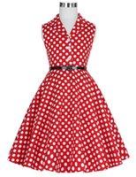 neue kleider mädchen revers großhandel-Neue Kinder Kinder Mädchen Retro Vintage Sleeveless Revers Kragen Tupfen Kleid J190514