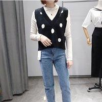 suéter de lunares negro al por mayor-Las mujeres sin mangas suéter de otoño 2019 de la vendimia coreana del estilo del lunar de cuello en V suéter de punto Chaleco Negro Rojo Punto T418