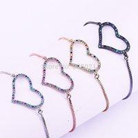 bilezikler konektörler cazibe kalp toptan satış-10 Adet Mix Renk Gökkuşağı Kübik Zirkonya Mikro Açacağı Kalp Konnektörler Bilezik Charm, Kadınlar Takı