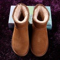 botas marrones para el invierno al por mayor-2019 Invierno Mujeres Snow Leather Australia Classic Botines Kneel Half Boots Negro Gris Café Marrón Chica Casual Zapatos