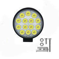 luces de coche led redondas al por mayor-Luz de inundación 42W LED ronda conducción campo a través de trabajo lámpara auxiliar luces de niebla para Jeep coche camión tractor motocicleta del barco