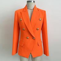 çift düğmeli takım elbisesi toptan satış-YÜKSEK KALITE Yeni 2019 Tasarımcı Blazer kadın Aslan Düğmeleri Kruvaze Blazer Ceket Neon Turuncu Klasik kadın suit