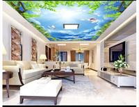 ingrosso murale verde foglia-Foto 3D personalizzata zenith wallpaper murale interior decoration Ramo foglie verdi cielo blu bianco colomba soffitto zenith murale carta da parati