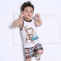 petit garçon met le singe achat en gros de-Toddler Baby Enfants Garçons D'été 2pcs Pyjama Ensembles Vêtements Hauts T-shirt Pantalon Shorts Animal Mignon Singe Plaid Tenues Set Taille 1T-7T