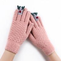 варежки для детей оптовых-Милые животные дети зимние вязаные перчатки с сенсорным экраном Снег работает теплые варежки для девочек дамы супер теплые перчатки