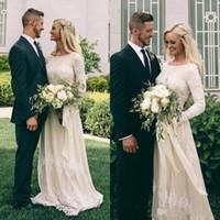 2020 Elegant Ivory Bohemian Wedding Dresses Long Sleeves A Line Jewel Neck Appliques Garden Wedding Dress Floor Length Bridal Gowns