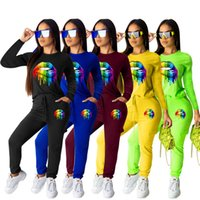 Wholesale red lips clothing for sale – custom Women sweat suit Hoodies Piece Set Outfits Shirt Leggings Tracksuit Pullover Lip Print Crew Neck Pants Tracksuit winter Clothing
