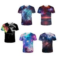 galaxy print camisetas para homens venda por atacado-Galaxy Space 3D Imprimir camiseta Alien Anime Tees Mulheres Homens Streetwear Plus Size Verão Tops de Manga Curta Tshirts