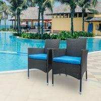 открытый патио стулья оптовых-2шт. Набор стульев из ротанга, открытая одинарная спинка Wicker Golden Rattan Lounge Chair Set, Морден Патио Мебель для дома, черный