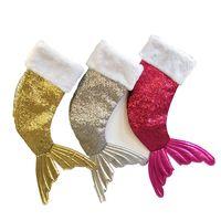 payetler hediye poşetleri toptan satış-Denizkızı Kuyruk Hediye Çanta Sequins Noel çorap Çocuk Şeker Çanta Ev Duvar boyunda Xmas ağacı Süsleme 3 adet ePacket