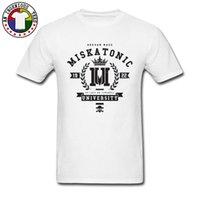 tejido universitario al por mayor-Camiseta con el logotipo de la Universidad de Miskatonic Camiseta con cuello redondo del día del padre 100% algodón Tela Hombre Camisetas Ropa de moda Diseñador de la camisa