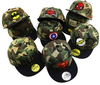 chapéus do exército dos meninos venda por atacado-2019 hot spiderman superman criança bordado boné de beisebol crianças menino hip hop chapéu de camuflagem do exército / sun cap / malha cap / snapbac chapéu hfk132