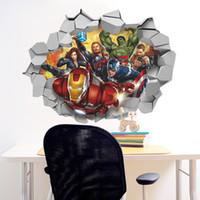 duvar posteri arka planı toptan satış-60 * 45 cm avengers duvar posterler 3d duvar kağıdı kırık duvar Avengers TV arka plan dekorasyon çıkarılabilir ev dekor duvar çıkartmaları