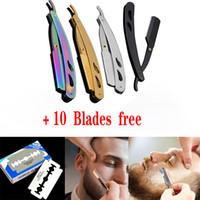 máquinas de barbear para barbeiro venda por atacado-10 Lâminas + 4 Cores de Moda Em Aço Inoxidável Borda Reta Navalhas Barba Sobrancelha Barbeiro Barba Manual Dobrável Faca de Barbear Man's Styling Ferramenta