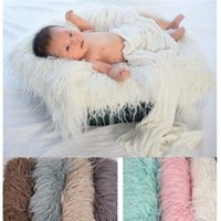 Wholesale Carpet - Baby Soft Blankets Faux Fur Vintage Photography Carpet Newborn Long Plush Photo Mat For Hundred Days 21js Ww