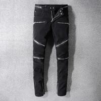 ingrosso moto star-Balmain Uomo Jeans strappati strappati Fashion Designer Jeans da motociclista da moto dritto Pantaloni Denim causali Streetwear Style Pista Rock Star