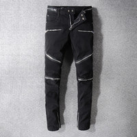estilo de motocicleta para homens venda por atacado-Rock Star Balmain Homens afligido Jeans rasgados do desenhador de moda Hetero Pants Motociclista Jeans Causal Denim streetwear do estilo da pista de decolagem