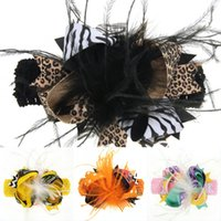 Wholesale baby feather headdress for sale - Group buy 2019 Hot Halloween Baby Girls Bow Feather Headband Hair Clip Dual Use Handmade Bows Festival Party Fashion Headdress Accessories M544A