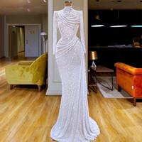 weiße sexy roben groihandel-White Glitter Pailletten-Nixe-Abend-Kleid-Ansatz mit Rüschen besetzte robe de Soiree nach Maß lange Hülsen Abendkleid Formal Wear