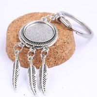 Wholesale pendant tray round silver cabochon for sale - Group buy Fit mm Round Antique Silver Dream Catcher Cabochon Keychain Base Settings Diy Keyring Pendant Tray For Key Chain