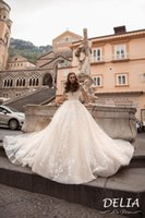 Wholesale pricess wedding dresses resale online - Champagne Off Shoulder Ball Gown Wedding Dresses Luxury Lace Appliqued Backless Vintage Pricess Sweep Train Bridal Gown