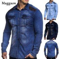 mens ince sığan denim gömlek toptan satış-2019 Sonbahar Yeni Erkekler Denim Gömlek Casual Fit Slim Uzun Kollu Gömlek Pamuk Yıkanmış Kot Elbise Erkek Giyim Plue Boyutu