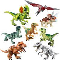 Wholesale rex dinosaur toy resale online - Mini figures Jurassic Park Dinosaur blocks a Velociraptor Tyrannosaurus Rex Building Blocks Sets Kids Toys Bricks gift