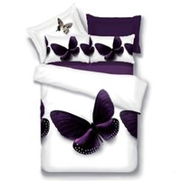 kelebek yorgan kraliçesi toptan satış-4 adet Ev Tekstili 3D yatak seti kelebek Nevresim çiçek Çarşaf kraliçe Yumuşak futbol Baskı Yorgan Yastık Kılıfı