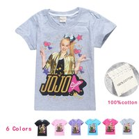 Wholesale t shirt dhl free resale online - Cheap jojo siwa clothes Big Kids clothing T shirt Tees Cotton Girls Short Sleeve Shirts Y Summer Clothes Free DHL