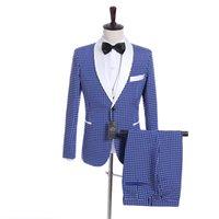 corbata de raso azul al por mayor-Novios Esmoquin Azul Blanco Punto Hombres Boda Esmoquin Blanco Satén Solapa Lateral Hombre de ventilación Chaqueta Blazer Traje de 3 piezas (Chaqueta + Pantalones + Chaleco + Corbata) 32