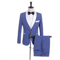 ingrosso cravatta di maglia blu satinata-Smoking dello sposo Smoking bianco blu Smoking da uomo Smoking bianco Satin Giacca da uomo con risvolto laterale Giacca da uomo 3 pezzi (giacca + pantaloni + vest + cravatta) 32