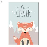 fotos de dibujos animados de bebés al por mayor-Lovely Cartoon Fox Owl Deer Nordic Canvas Painting Art Print Poster Picture Wall Baby Room Niños Dormitorio Decoración del hogar