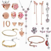 Wholesale peach rose charms resale online - Spring Peach Blossom collection beads Sterling Silver Spanish Fan dangle Charms fit bracelets DIY rose heart pendant jewelry earrings