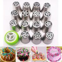 kek kek seti toptan satış-16 adet Memeleri Buzlanma Pasta Çanta Kek Cupcake Dekorasyon Malzemeleri Için Boru Rus İpuçları Seti Q190524