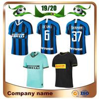 uniformes futebol milão venda por atacado-2020 Milan LUKAKU Terceiro fora Camisa de Futebol 19/20 em casa Azul ALEXIS Camisa de Futebol Fora JOVETIC LAUTARO CANDREVA SKRINIAR Fora futebol uniforme