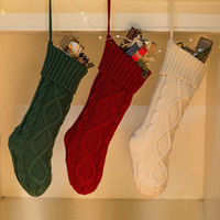Wholesale crochet christmas decor for sale - Group buy Hot PC Christmas Holiday Knitted Stocking Hanging Crochet Stock Tree Ornament Decor Christmas Socks Best Gift High Quality