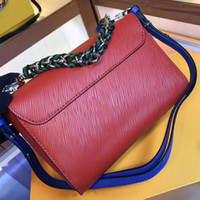 Wholesale blue water for sale - Group buy Newset Women Rotating Button Water Ripple Pattern Satchel Chain Bags Real Leather Crossbody Shoulder Bag Purse Messenger Handbag