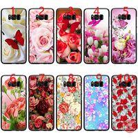 черный чехол для телефона бабочки оптовых-Красная бабочка на белых розах цветок мягкий черный TPU чехол для телефона Samsung Примечание 9 8 S8 S9 Plus S6 S7 Edge Cover