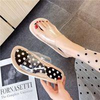 женские сандалии полька-точка оптовых-fashion  Non-slip Summer Women Slippers Beach Sandals home flats Slides tong femme Polka Dots sandalias mujer 2019