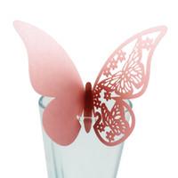 ingrosso scatola di carta della farfalla-10 pz Tabella Numero di Vetro Laser Cut Farfalla Posto Escort Bicchiere di Vino Tazza di Carta di Carta FAI DA TE per la Festa di Nozze Rifornimento di Festival 10 pz