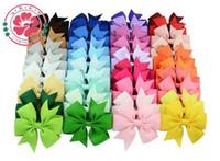 alfileres de bebé de color al por mayor-40 Colores Kids Hair Bows Bloom Pin para Niños Niñas Niños Accesorios para el Cabello Baby Hairbows con Clips Clip de Pelo de Flor