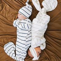 kids cotton bags venda por atacado-Europa Bebê Saco De Dormir Infantil Crianças Stripe Sacos De Dormir Cobertor De Algodão Criança Pijamas Nightclothes Headband Do Chapéu 14433