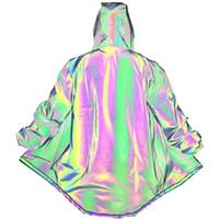 Laser riflettente Mantello Trench Uomini irregolare Arcobaleno punk Cappotto lungo del rivestimento degli uomini Windbreaker Nuovo Streetwear