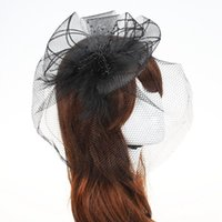 Wholesale black fascinator purple resale online - Retail Fascinator Cocktail Hat for Wedding Holiday Women French Veiling Hair Headband Vintage Fashion Lady Party Accessories D19011102
