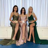Wholesale blush melon prom dress for sale - Group buy 2020 Sexy V Neck Mermaid Blush Pink Prom Dresses Elegant Long Prom Gowns Satin High Split Vestidos De Formal Party Dresses BM1569
