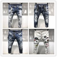 männer gold jeans großhandel-DSQUARED2 DSQ2 2019 neue Ankunft Top Qualität Markendesigner Männer Denim Jeans Stickerei Hosen Mode Löcher Hosen Italien Größe 44-54