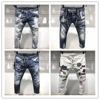 erkekler için pantolon markalı toptan satış-DSQUARED2 DSQ2 2019 Yeni Varış En Kaliteli Marka Tasarımcısı Erkekler Denim Jeans Nakış Pantolon Moda Delik Pantolon İtalya boyutu 44-54
